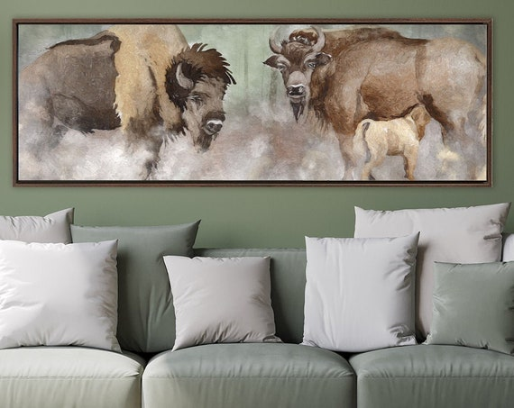 Bison wall art, oil landscape painting on canvas - ready to hang extra large panoramic canvas wall art prints with or without floater frames