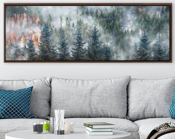 Autumn foggy mountain forest, oil landscape painting on canvas - ready to hang large canvas wall art prints with or without floating frames.