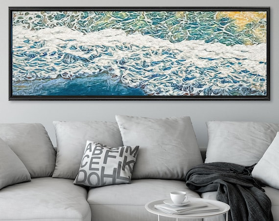 Wave, Oil Impressionist Coastal Wall Art - Ready To Hang Large Panoramic Gallery Wrap Canvas Wall Art Prints With Or Without Floating Frames