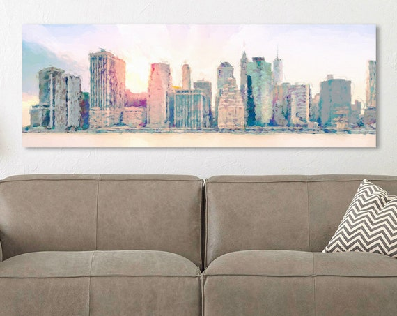 New York City skyline art - acrylic landscape painting on canvas. Ready to hang large panoramic canvas art & waterproof metal wall art print