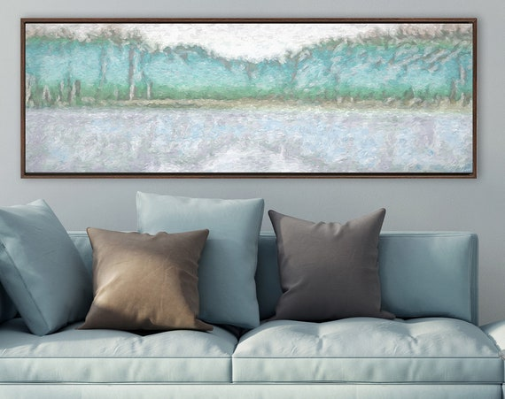 Forest lake wall art, oil landscape painting on canvas - ready to hang large gallery wrapped canvas art prints with or without float frames.