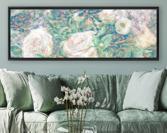 White Roses. Floral Wall Art, Oil Painting On Canvas - Ready To Hang Large Botanical Canvas Wall Art Prints With Or Without Floating Frames.
