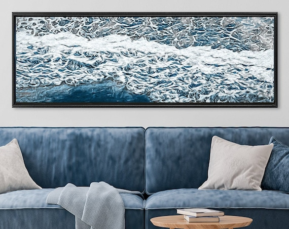 Wave, oil seascape painting - navy blue coastal wall art, large panoramic gallery wrap canvas wall art prints with or without floater frames