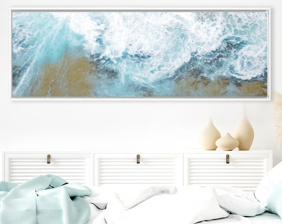 Wave, Oil Contemporary Coastal Wall Art - Ready To Hang Large Panoramic Gallery Wrap Canvas Wall Art Prints With Or Without Floating Frames.