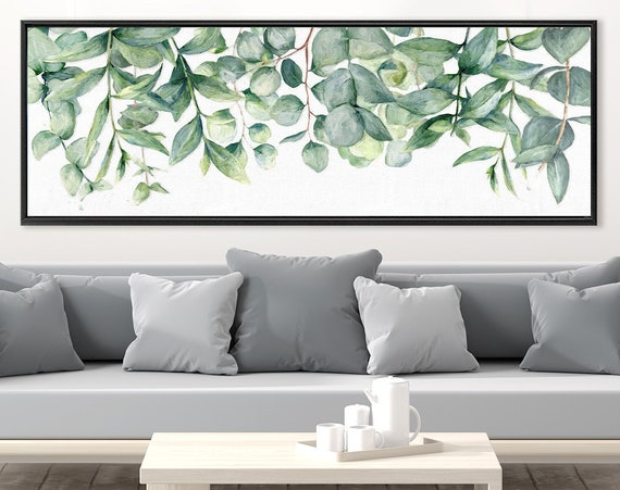 Eucalyptus wall art, green botanical oil painting on canvas - large gallery wrap canvas wall art prints with or without external float frame