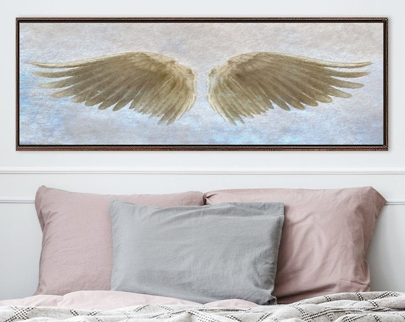 Angel Wings Wall Art, Beige & Blue Oil Painting On Canvas - Ready To Hang Large Panoramic Canvas Wall Art Prints With Or Without Float Frame