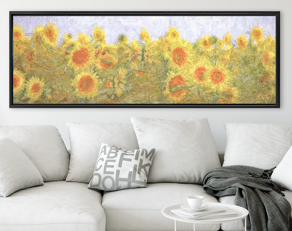 Sunflower filed, floral landscape painting on canvas - ready to hang large gallery wrap canvas wall art prints with or without float frames.