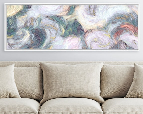 Abstract oil painting on canvas - ready to hang large canvas wall art prints without or with floating frames in three colors to choose from.