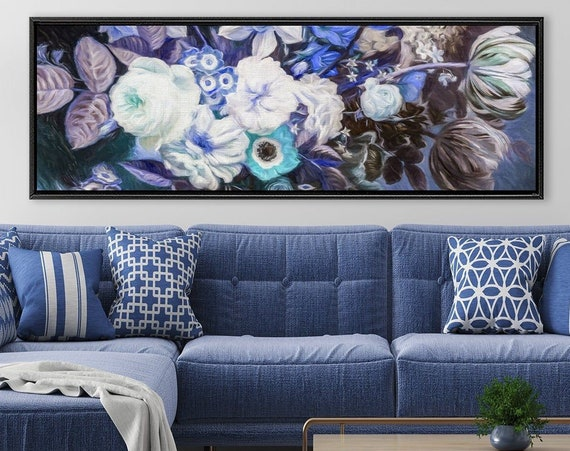 Botanical print. Composition of flowers and leaves, oil painting on canvas - gallery wrap canvas wall art print with or without float frame.