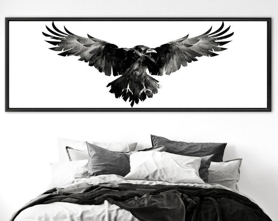 Gothic raven wall art, black and white watercolor painting - large panoramic gallery wrap canvas wall art prints with or without float frame