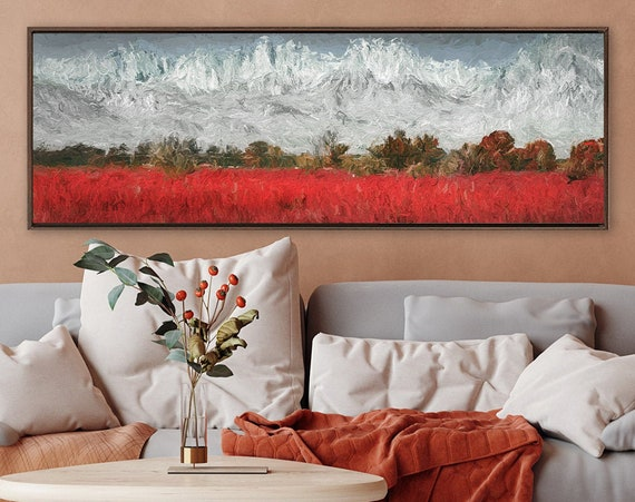 Mountain wall art, oil landscape painting on canvas - ready to hang large gallery wrap canvas wall art prints with or without floater frames