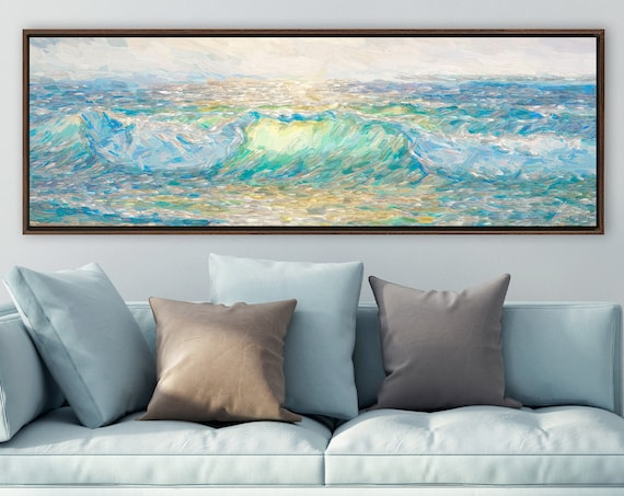 Wave, ocean wall art, impressionist oil painting on canvas - ready to hang large panoramic canvas wall art print with or without float frame