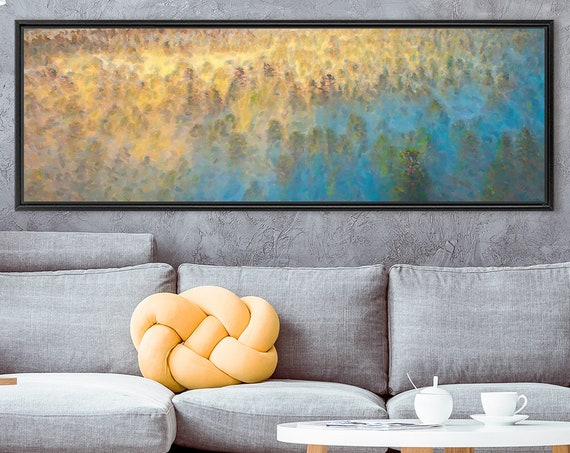 Sunrise mountain forest oil landscape painting on canvas - ready to hang large panoramic canvas wall art print with or without floater frame