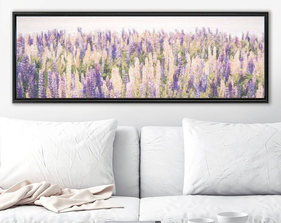 Floral meadow wall art, oil landscape painting on canvas - ready to hang large wrapped canvas wall art prints with or without floater frames