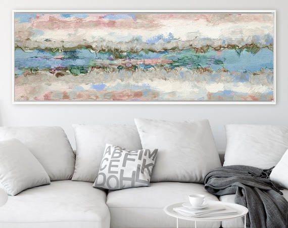 Fine art print, abstract oil landscape painting on canvas - ready to hang large panoramic canvas wall art print with or without float frame.