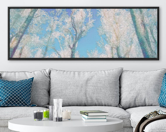 Frozen forest wall art, oil landscape painting on canvas - ready to hang large gallery wrapped canvas art prints with or without float frame