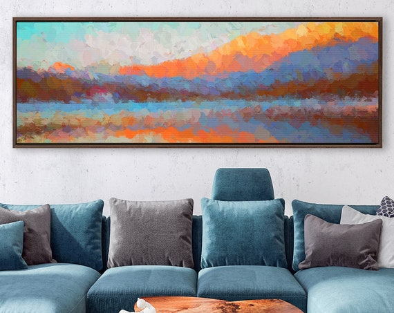 Misty mountain forest, oil landscape painting on canvas - ready to hang large panoramic canvas wall art print with or without floater frame.
