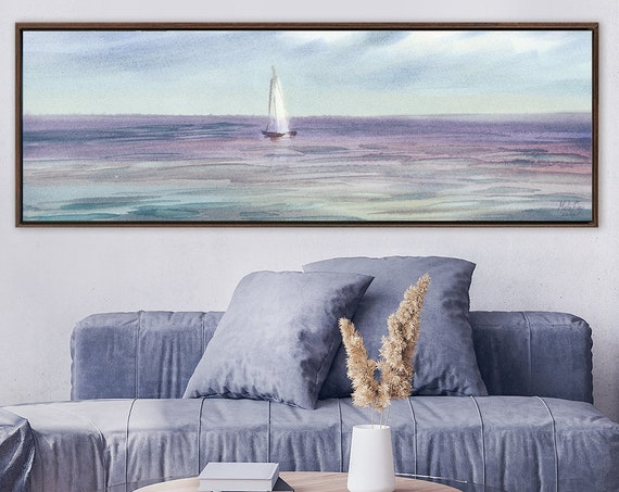 Sailboat. Coastal landscape painting - contemporary watercolor art print. Ready to hang large canvas wall art with or without floater frame.