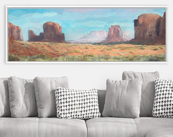 Monument Valley, Oil Desert Landscape Painting On Canvas - Ready To Hang Large Panoramic Canvas Wall Art Prints With Or Without Float Frames