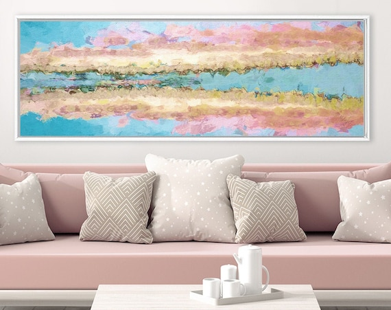 Fine art print. Abstract oil landscape painting on canvas - ready to hang large panoramic canvas wall art print with or without float frame.