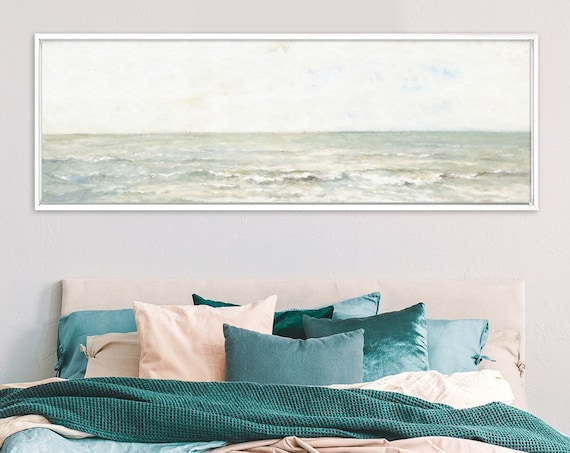 Sea View, Oil Landscape Painting On Canvas - Ready To Hang Large Gallery Wrap Canvas Wall Art Prints With Or Without External Floater Frames