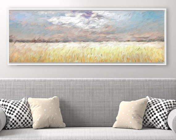 Prairie, Mississippi River Valley, Oil  Landscape Painting On Canvas - Ready To Hang Canvas Wall Art Prints With Or Without Floating Frames.