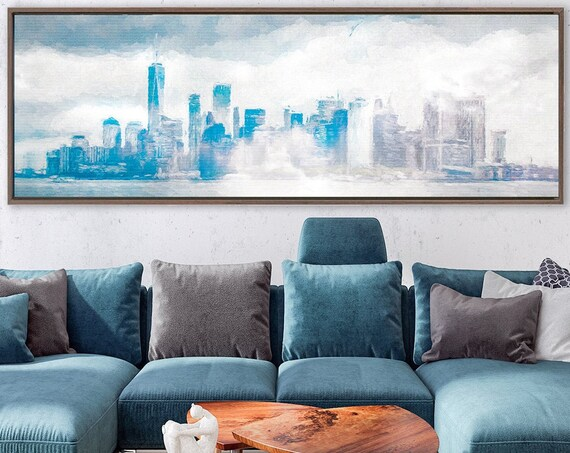 Foggy New York City, cityscape wall art, oil painting on canvas - ready to hang large panoramic canvas prints with or without floater frames
