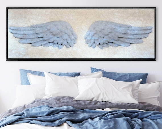Angel wings wall art, blue & beige oil painting on canvas - ready to hang large panoramic canvas wall art prints with or without float frame