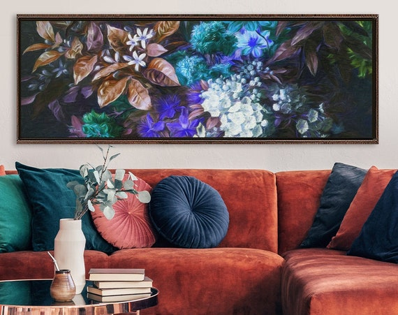 Botanical art print, composition of flowers and leaves, oil painting on canvas - gallery wrap canvas wall art with or without floater frame.
