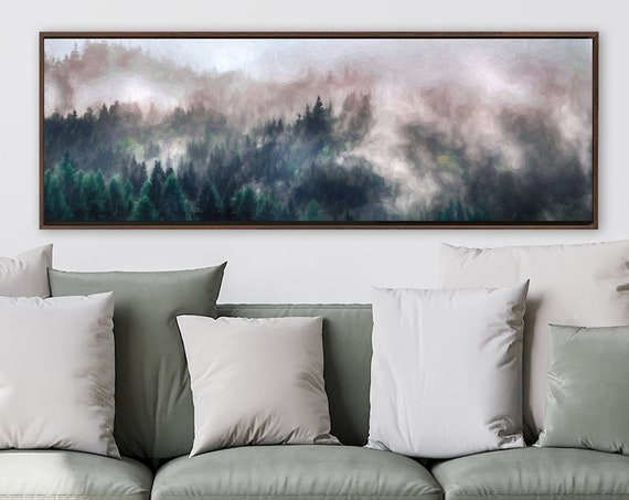 Aerial view of foggy mountain forest art, oil landscape painting - ready to hang large canvas wall art prints with or without floater frames