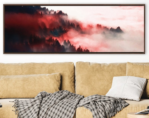 Red Foggy Mountain Forest, Oil Landscape Painting - Ready To Hang Large Panoramic Gallery Wrap Canvas Art Print With Or Without Float Frame.
