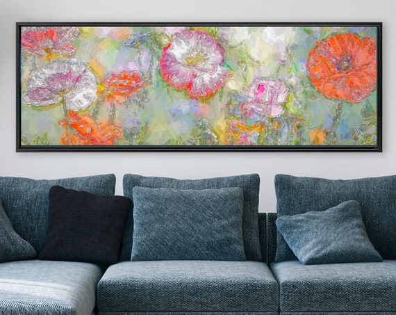Poppy Meadow. Floral Wall Art, Oil Painting On Canvas - Ready To Hang Large Botanical Canvas Wall Art Prints With Or Without Floating Frames