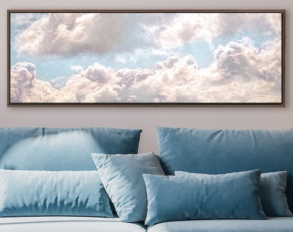 Clouds, Celestial Wall Art, Contemporary Oil Painting On Canvas - Ready To Hang Large Canvas Wall Art Prints With Or Without Floating Frames
