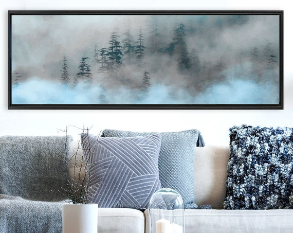 Foggy Mountain Forest, Oil Landscape Painting On Canvas - Ready To Hang Large Panoramic Canvas Wall Art Print With Or Without Floater Frame.