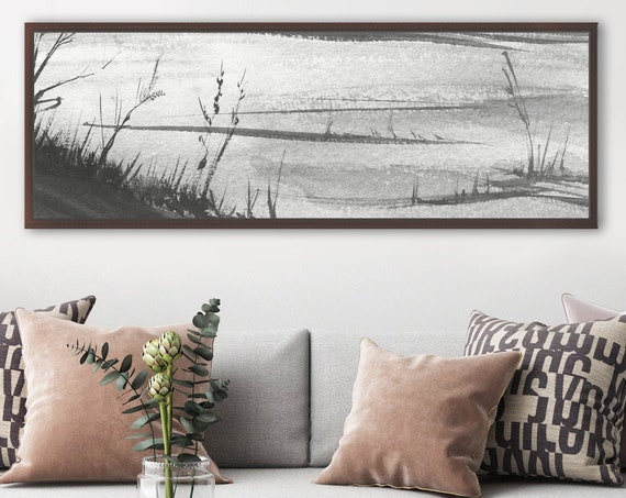 Frozen lake, large black and white watercolor landscape. Ready to hang horizontal canvas art or metal art print. Minimalist framed wall art.