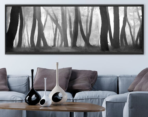 Black and white watercolor forest landscape - ready to hang large minimalist gallery wrap canvas wall art prints with or without float frame