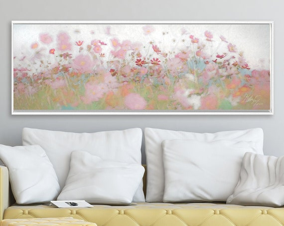 Floral meadow wall art, oil landscape painting on canvas - ready to hang large wrapped canvas wall art prints with or without floating frame
