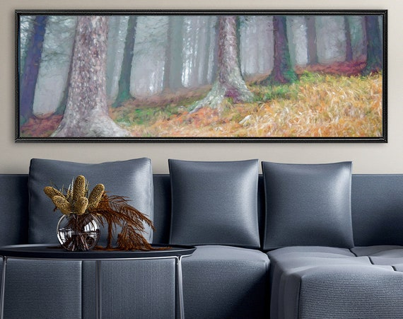 Foggy mountain forest, autumn oil landscape painting on canvas - ready to hang large canvas wall art prints, with or without floater frames.