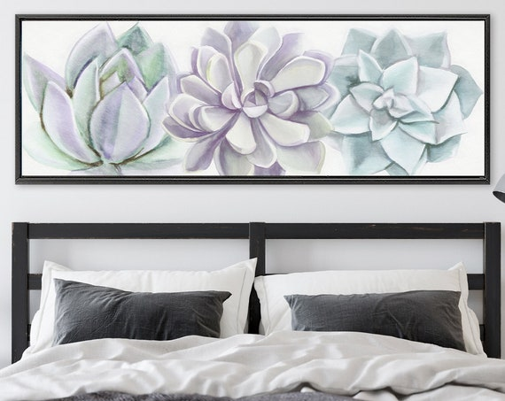 Succulents, Botanical Watercolor Wall Art - Ready To Hang Large Panoramic Gallery Wrap Canvas Wall Art Prints With Or Without Floater Frames