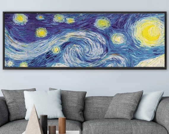 Starry Night - Van Gogh style canvas wall art, post-impressionist oil painting - large gallery wrap canvas art prints with or without frames
