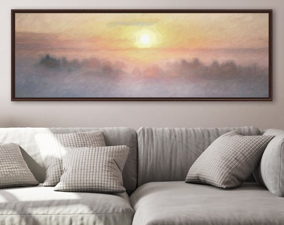 Foggy Sunrise Art, Oil Landscape Painting On Canvas - Ready To Hang Large Panoramic Canvas Wall Art Prints, With Or Without Floating Frames.