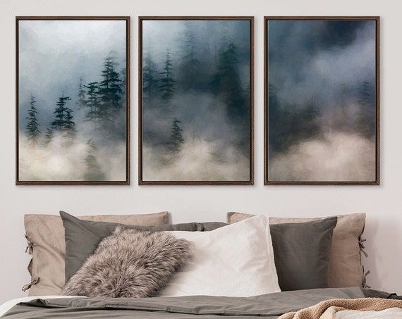 Misty mountain forest, oil landscape painting on canvas - set of 3 large gallery wrap canvas wall art prints with or without floater frames.