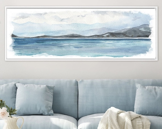Blue coastal landscape painting - contemporary watercolor wall art print. Ready to hang large canvas wall art with or without floater frame.