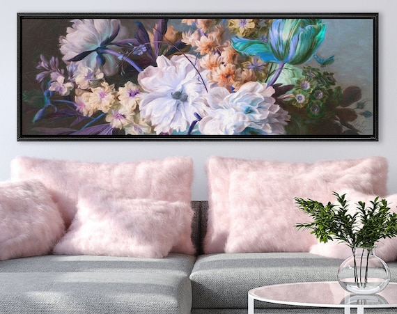 Botanical wall art. Composition of flowers and leaves, oil painting on canvas - gallery wrap canvas art print with or without floater frame.