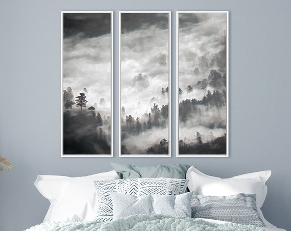 Foggy mountain forest triptych, oil painting on canvas - set of 3 ready to hang large canvas wall art prints with or without floating frames