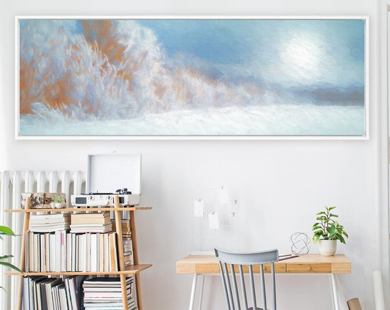 Snowy winter landscape, oil painting on canvas - ready to hang large panoramic canvas wall art print with or without external floater frame.