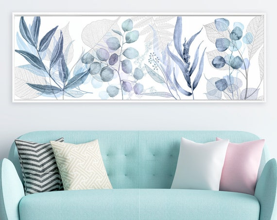 Botanical print, navy blue watercolor eucalyptus wall art - large panoramic gallery wrap canvas wall art print with or without floater frame