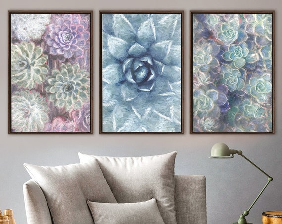 Succulent wall art, large oil paintings on canvas - set of 3 ready to hang gallery wrap canvas wall art prints with or without float frames.