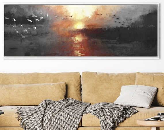 From Dusk Till Dawn, Oil Landscape Painting On Canvas - Ready To Hang Large Panoramic Canvas Wall Art Prints With Or Without Floater Frames.