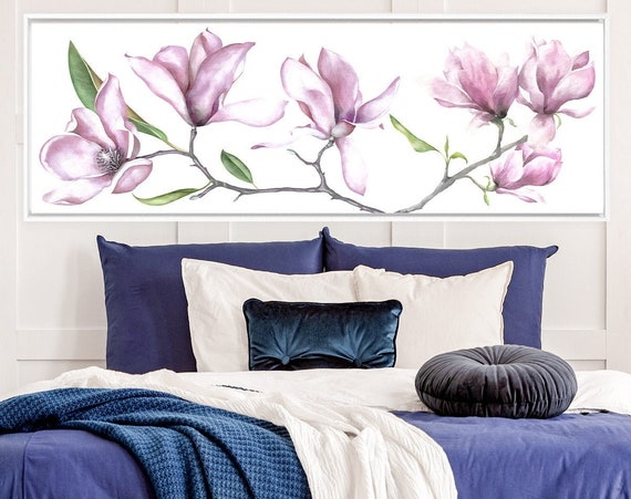 Magnolia watercolor flowers painting - ready to hang large panoramic gallery wrap canvas wall art print with or without external float frame